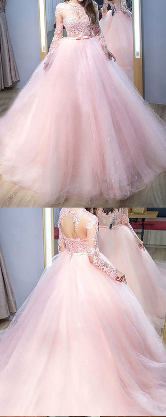 Jewel neck pink lace appliqued tulle ball gown prom dress with long