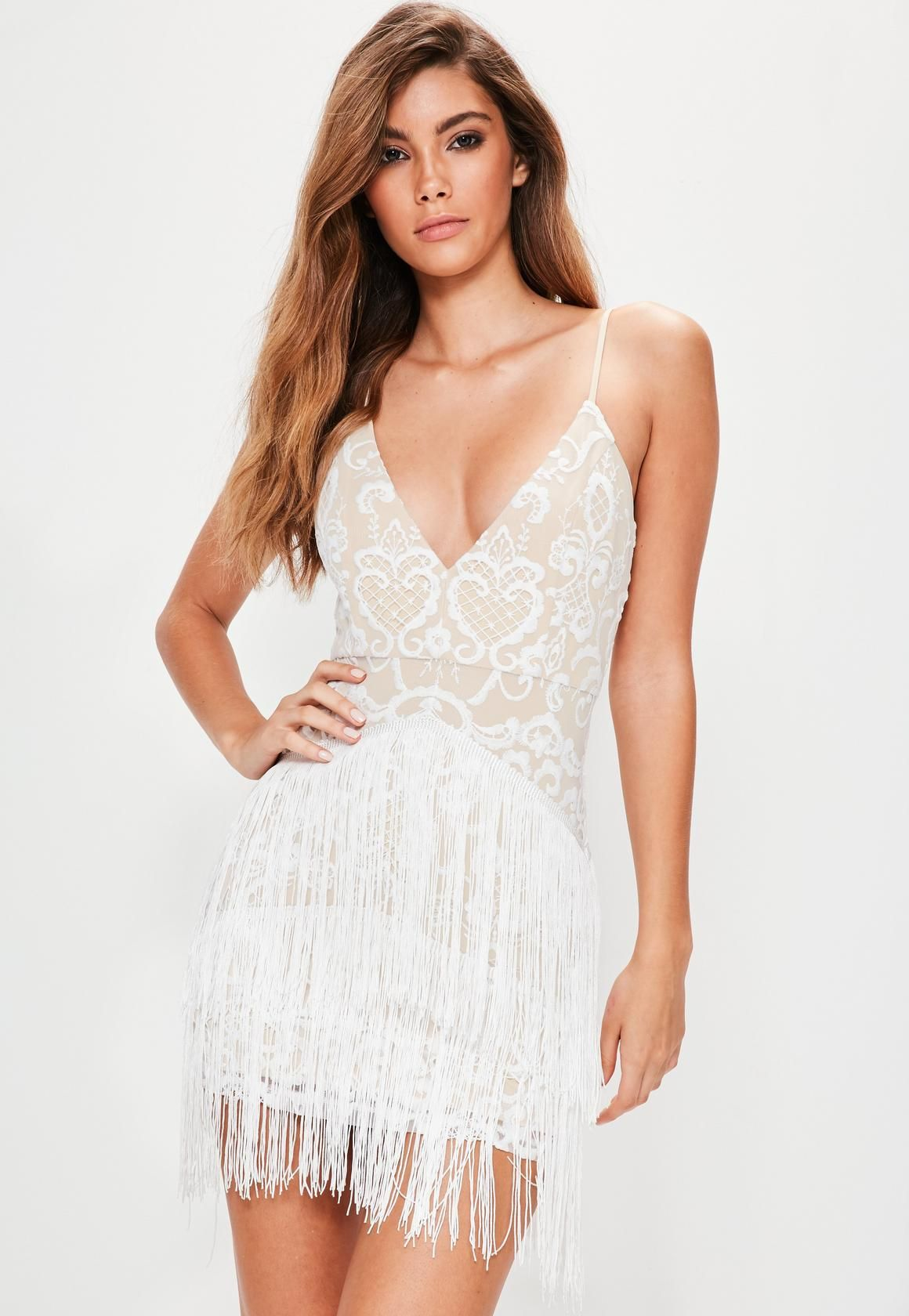 58f382ac72 Missguided - White Embroidered Tassel Detail Bodycon Dress | Wedding ...