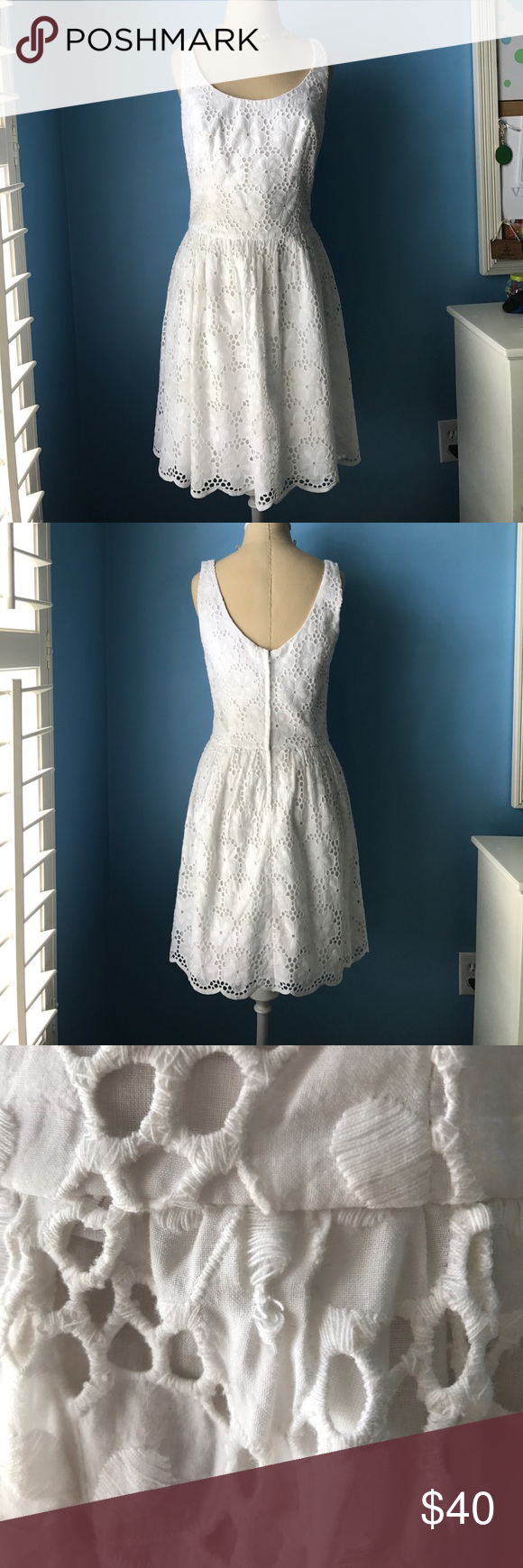 Lilly Pulitzer white eyelet dress Good condition Lilly Pulitzer dress. White eyelet, sleeveless, scoop neck. 100% cotton. Has a little bit of barely noticeable fraying as shown in photo #3 Lilly Pulitzer Dresses