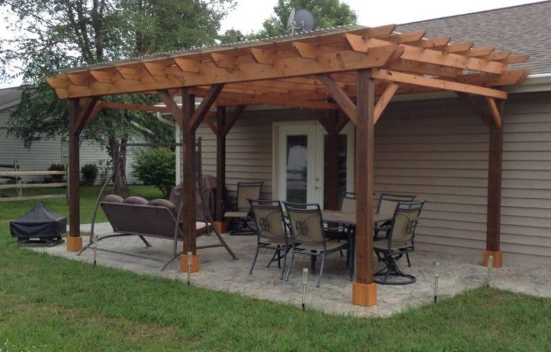 Covered Pergola Plans 12x24 Build Diy Outside Patio Wood Design Covered Deck Backyard Shelter In 2020 Pergola Plans Design Outdoor Pergola Backyard Patio Designs