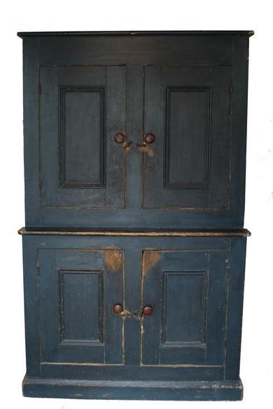 19th Century New England Stepback Cupboard In The Original Indigo Blue  Paint, Four Panel Door