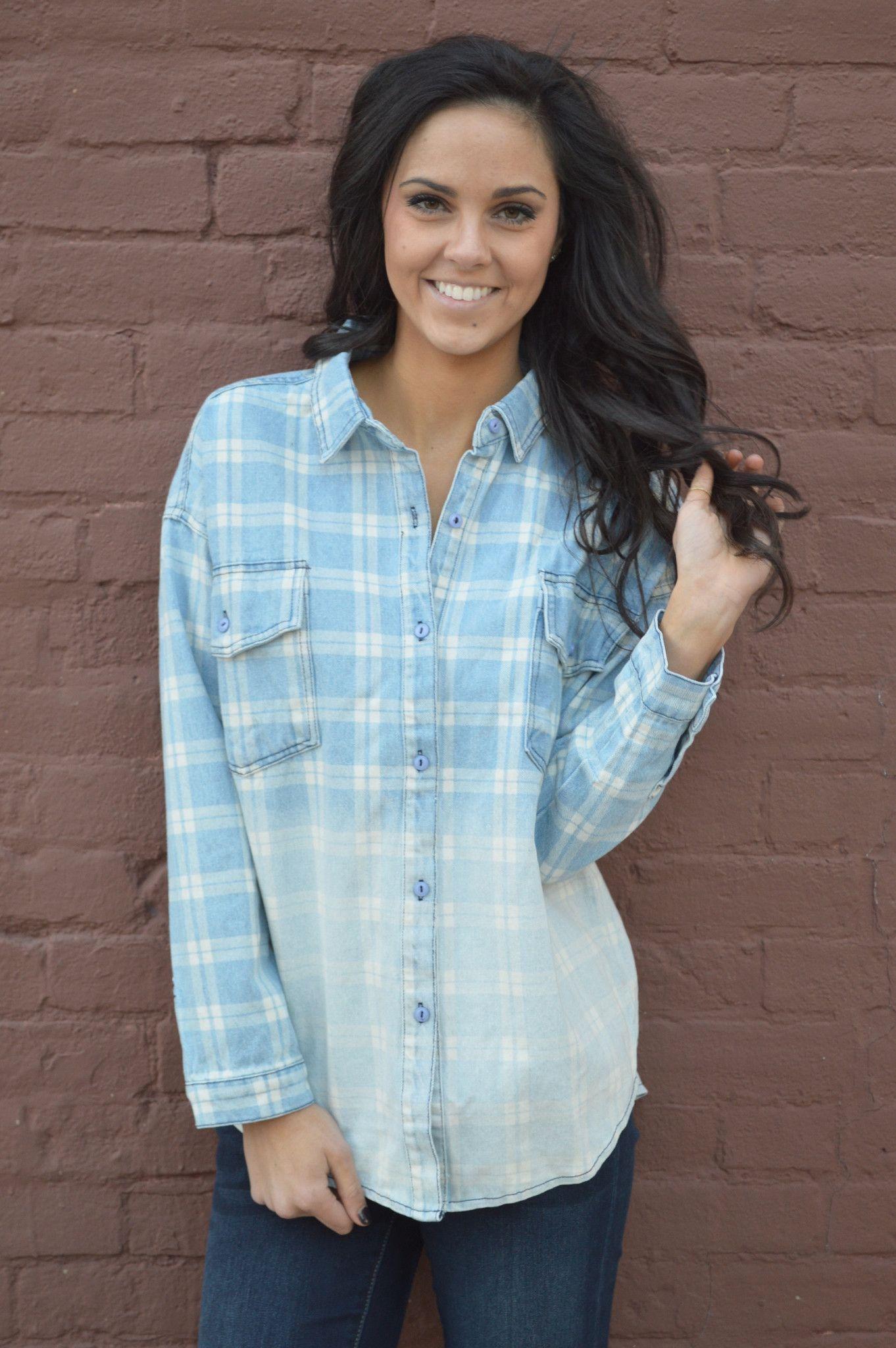 Zara flannel shirt mens  Ombre Denim Shirt from Shop Southern Roots TX  デニム  Pinterest