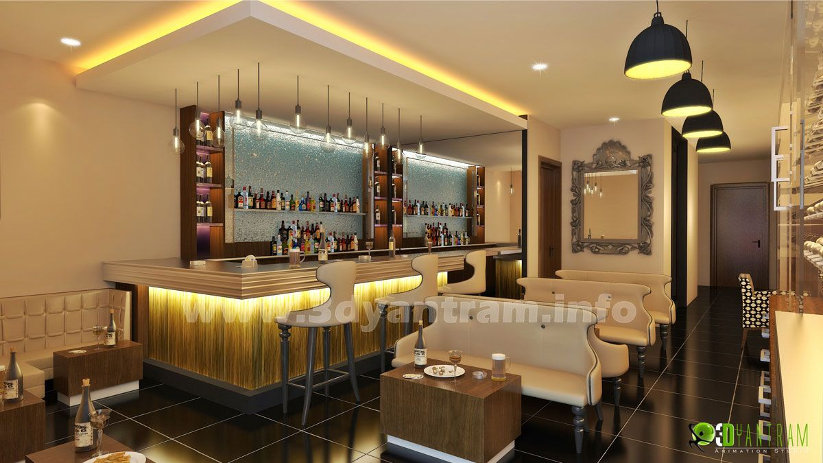 Commercial 3d Interior Rendering Bar Design And Animation By