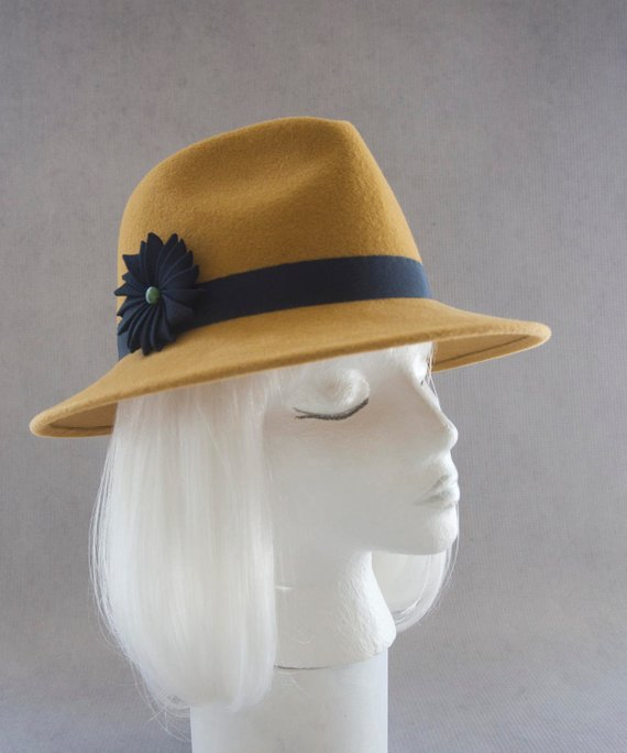 3785c4220e Mustard Yellow Fedora. Women s Hat w  Navy Blue Ribbon Cockade. Wide Brim  Velour Fur Felt. Ladies Mi
