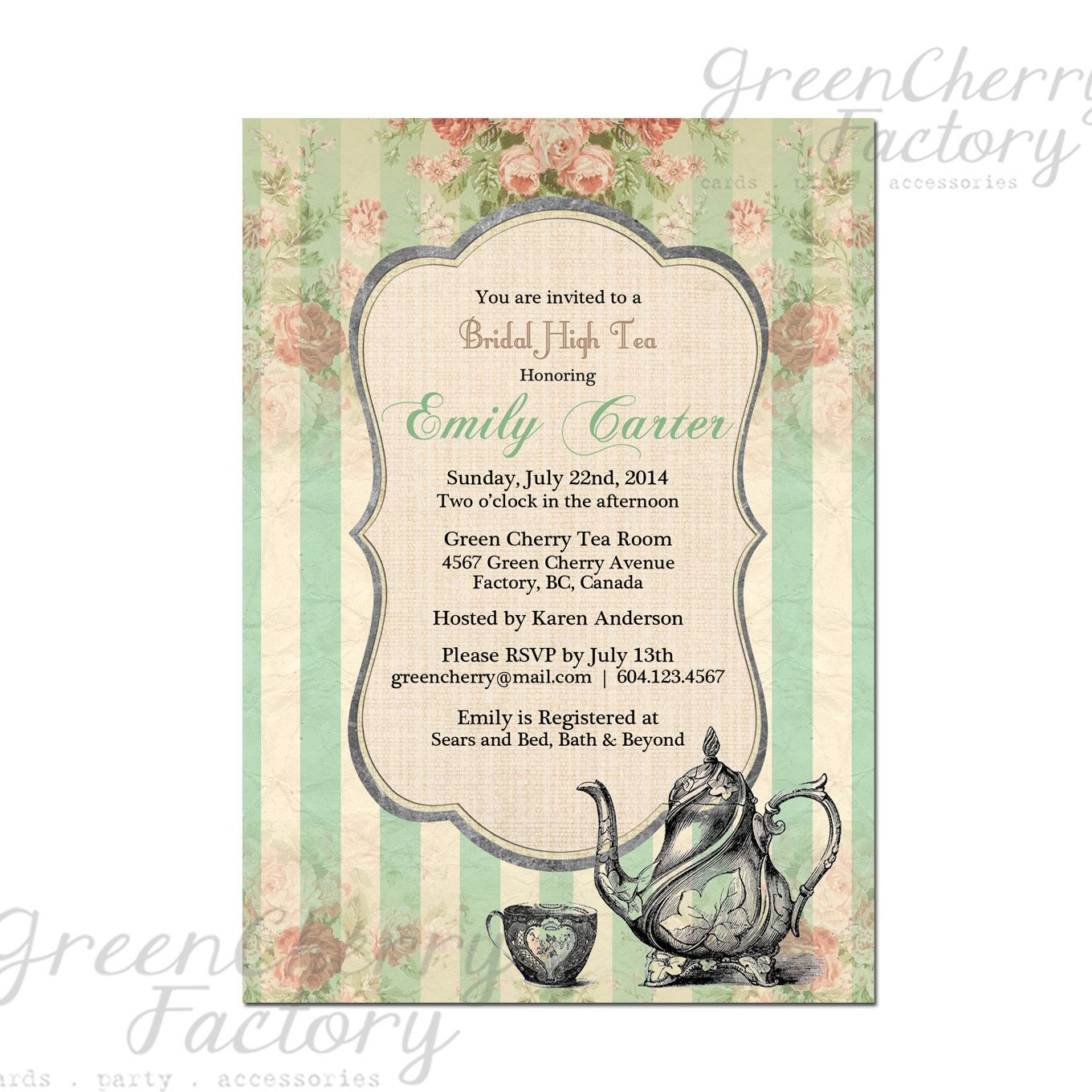 Tea Party Invitation - Bridal Baby Shower Birthday Tea Party Invites ...