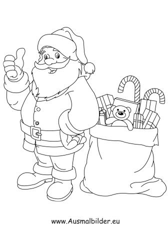 Ausmalbild Der Nikolaus Bringt Geschenke Santa Coloring Pages Cartoon Coloring Pages Coloring Pages