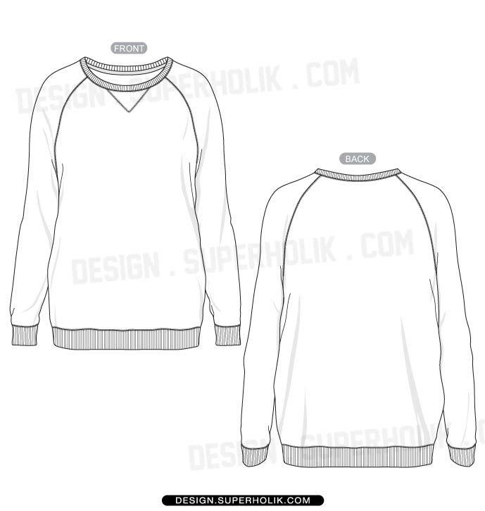 Women s raglan shirt template fashion sketches template for Long sleeve t shirt template illustrator