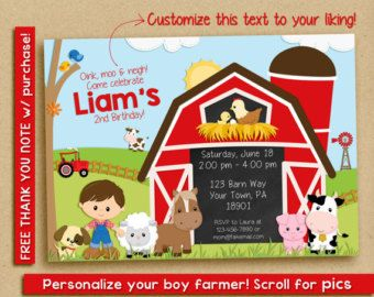 Farm Friends Birthday Party Invitation This Listing Is For A Digital Store Printing Walgreens Costco Walmart The Process Similar To