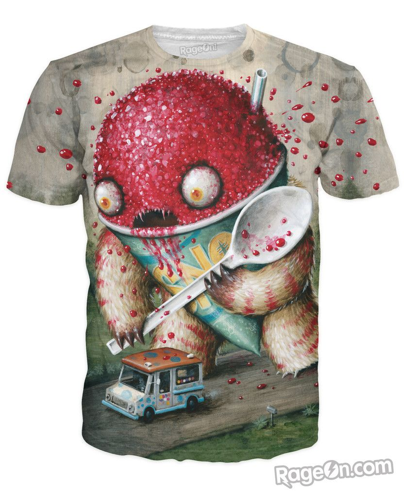 Have the most twisted dessert of your life in this Abominable Snowcone T-Shirt from Jason Limon! #RageOn #JasonLimon #Alloverprint #tshirt #snowcone #loveit #fashion