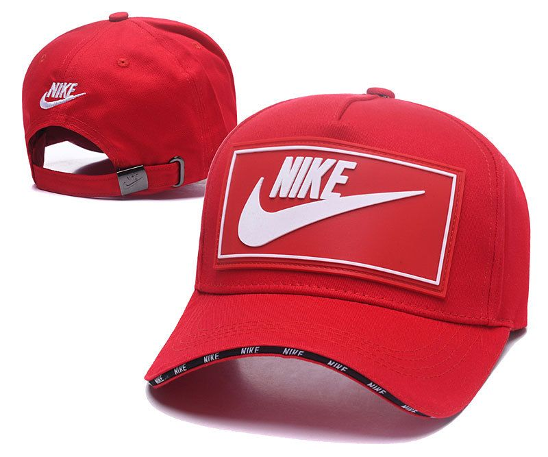 Men s   Women s Nike True Logo Rubber Patch Stitched Curved Dad Cap - Red    White (Copy Ori) 7c615ddce