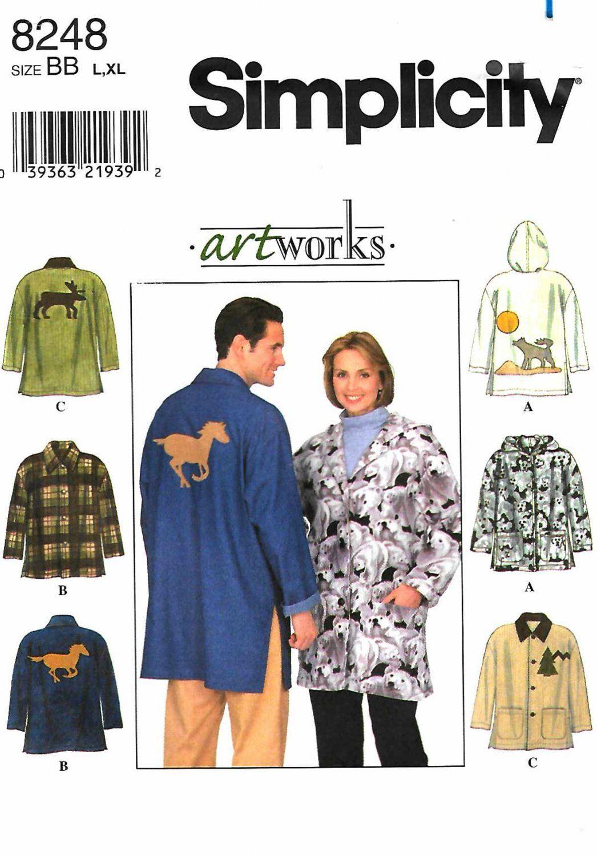 79b24fcb2b1b Simplicity Sewing Pattern 8248 Mens Misses Size Chest 42-48 Barn Jacket  Optional Hood Appliques ...