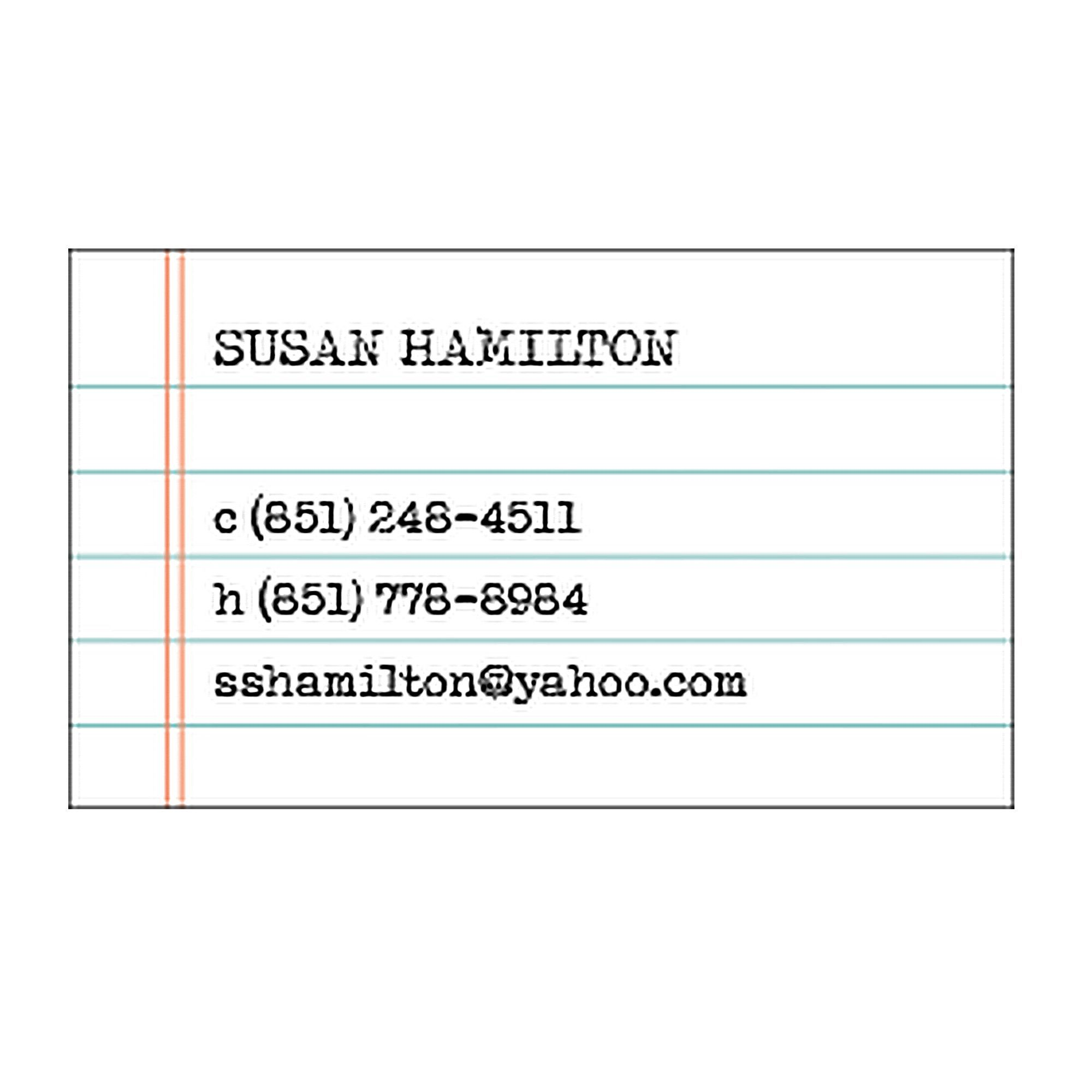 Perhaps The Most Appropriate Business Card For A Writer Lined Paper