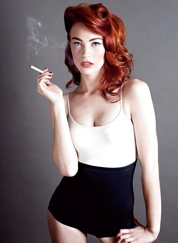 Woman Smoke Red Hair Image Photo