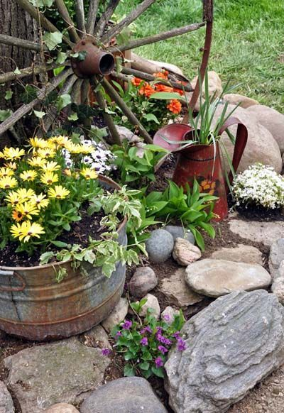 32 Creative Home Front Landscape Design Ideas: Rustic Gardens, Diy Garden Decor, Landscaping With Rocks
