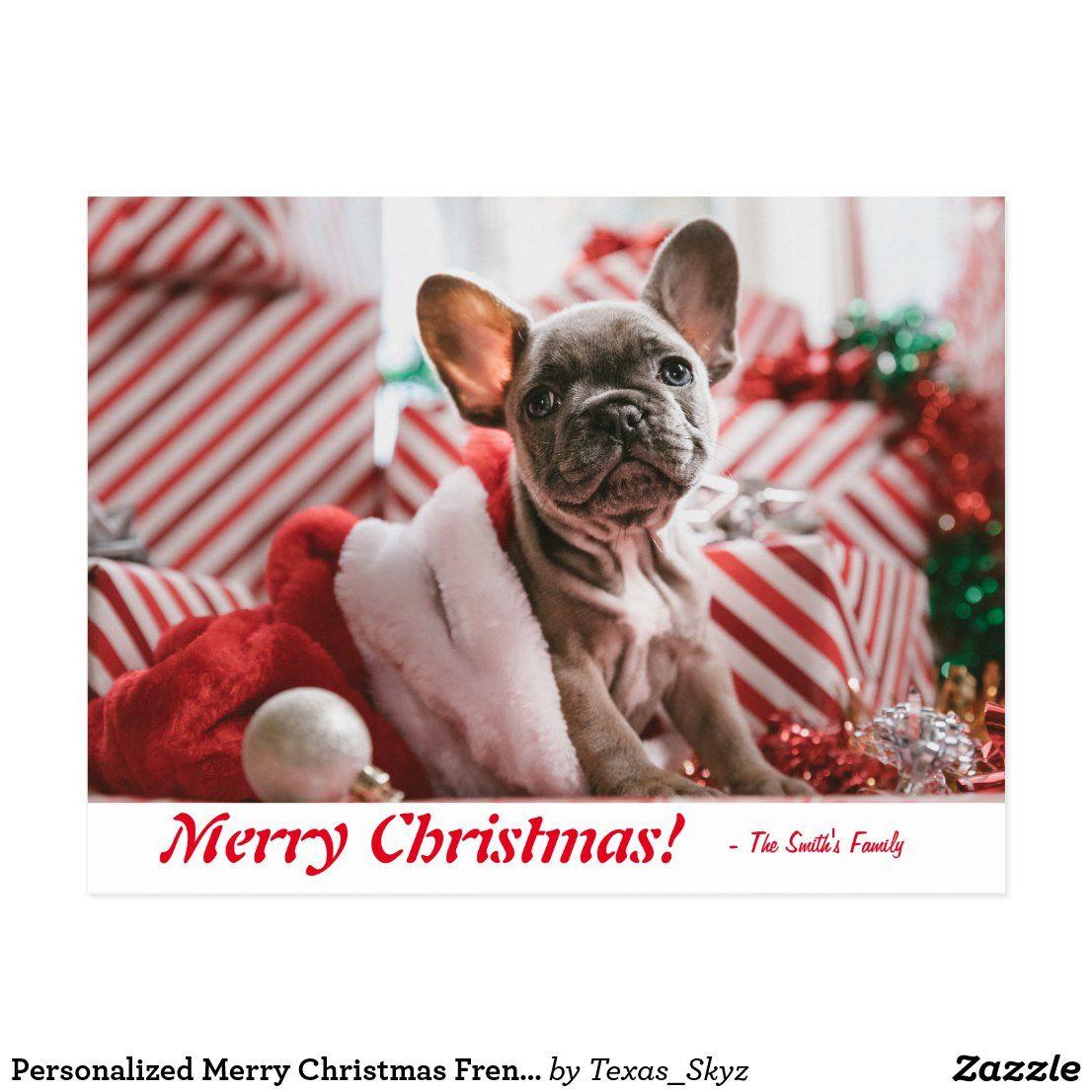 Personalized Merry Christmas French Bulldog Puppy Postcard | Zazzle.com