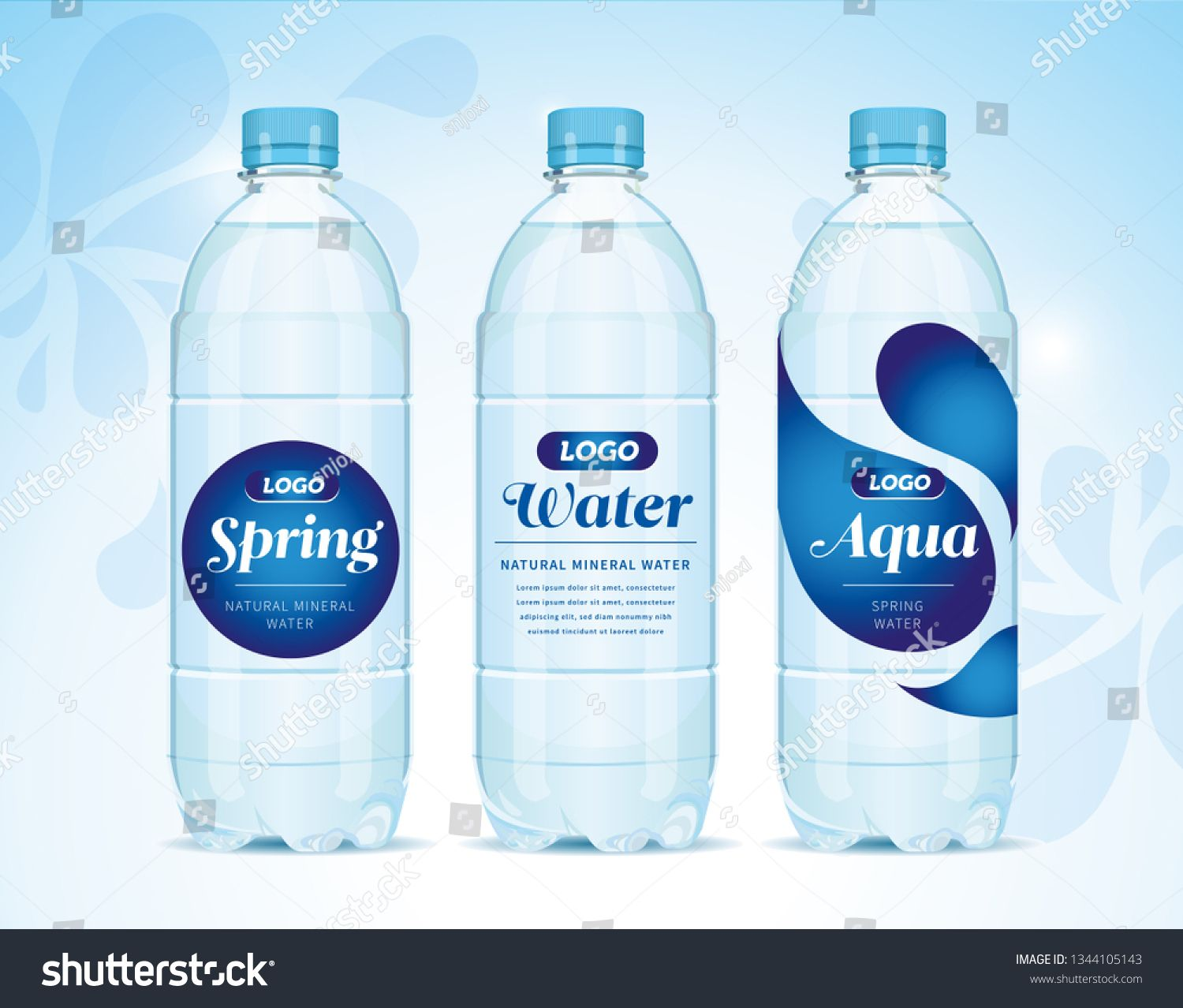 Water Bottle And Label Vector Concept