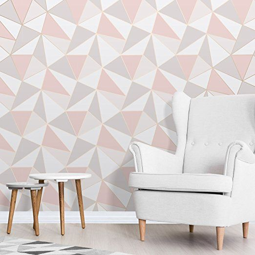 Rose Gold Full Roll Fine Decor FD41993 Uk Apex Geo Sidewall Wallpaper
