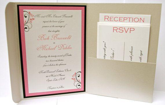 pocketfold wedding invitation coral wedding by InviteBling on Etsy