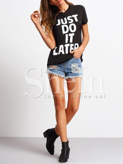 84d18b8882 Black Crew Neck Letter Print Casual T-shirt -SheIn(Sheinside) Mobile Site