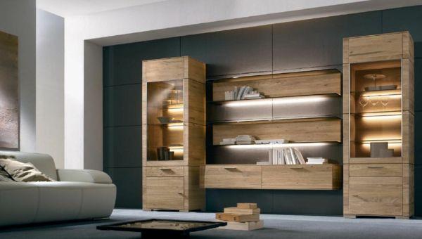 wohnwand wohnzimmer holz design
