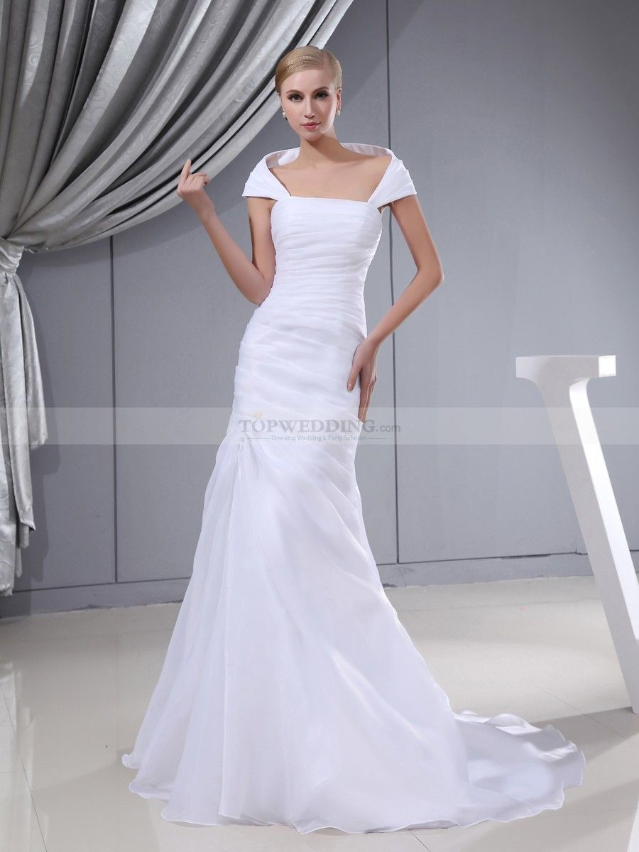 Mandellyn - corte sirena hombros caídos vestido de novia de satén ...