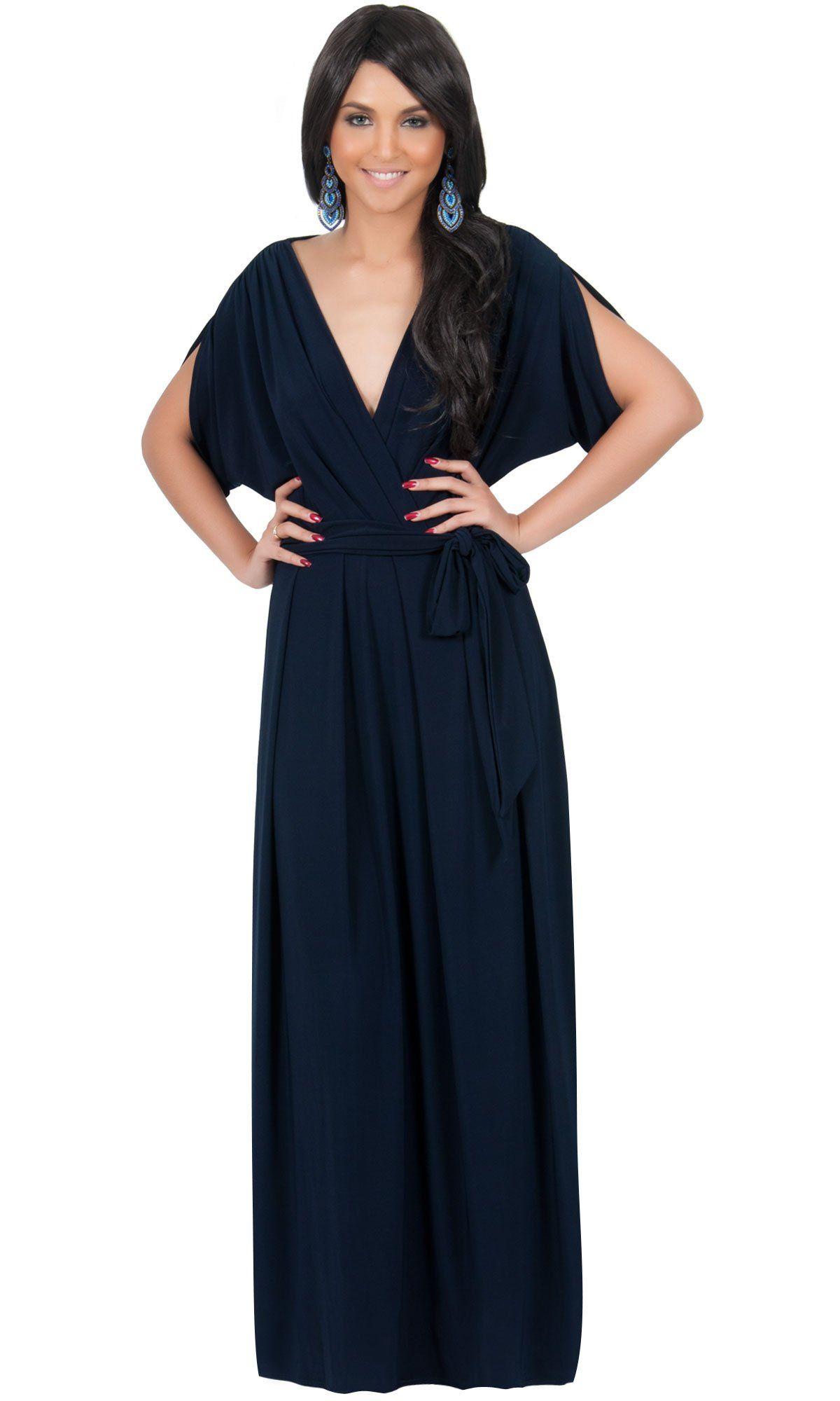 d065726e9b64b Koh Koh Women's Batwing Dolman Sleeve Maxi Dress at Amazon Women's Clothing  store: