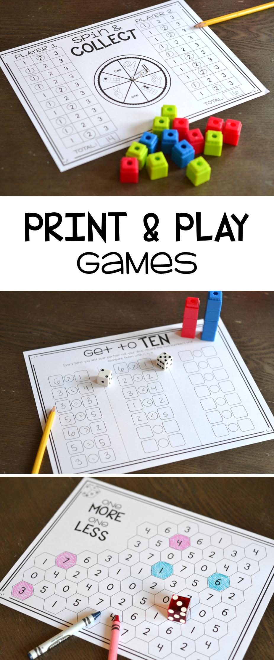 Math Games for 1st Grade Print, Play, LEARN Fun math