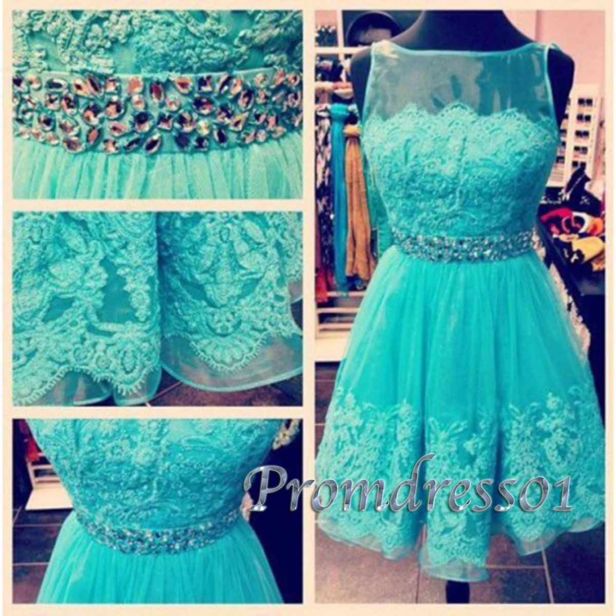 2015 cute green high-neck lace knee-length vintage prom dress for ...