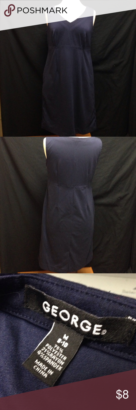 George Navy Blue Romper Dress Bust 40 Length 37.5 This dress is in excellent condition only worn once or twice.  the material stretches and it also has a side zipper under the arm. George Dresses Midi