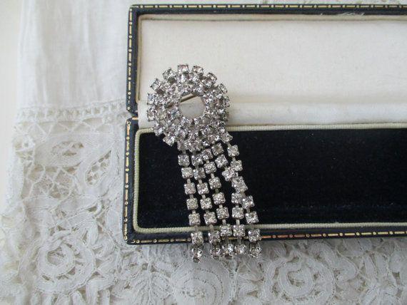 1950's diamante brooch by Nkempantiques on Etsy