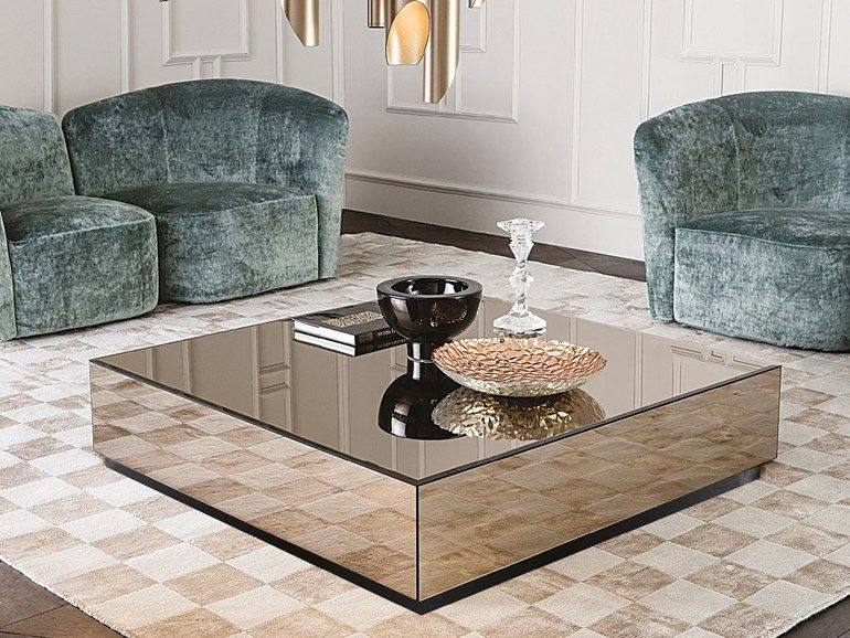 Low Square Mirrored Glass Coffee Table Bryant Casamilano