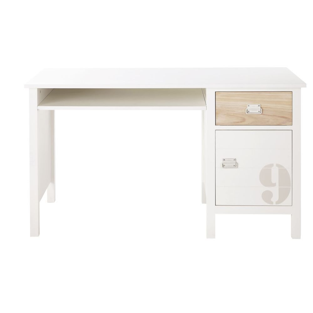 Schreibtisch Mit 1 Schublade Und 1 Tur Aus Kiefernholz Weiss