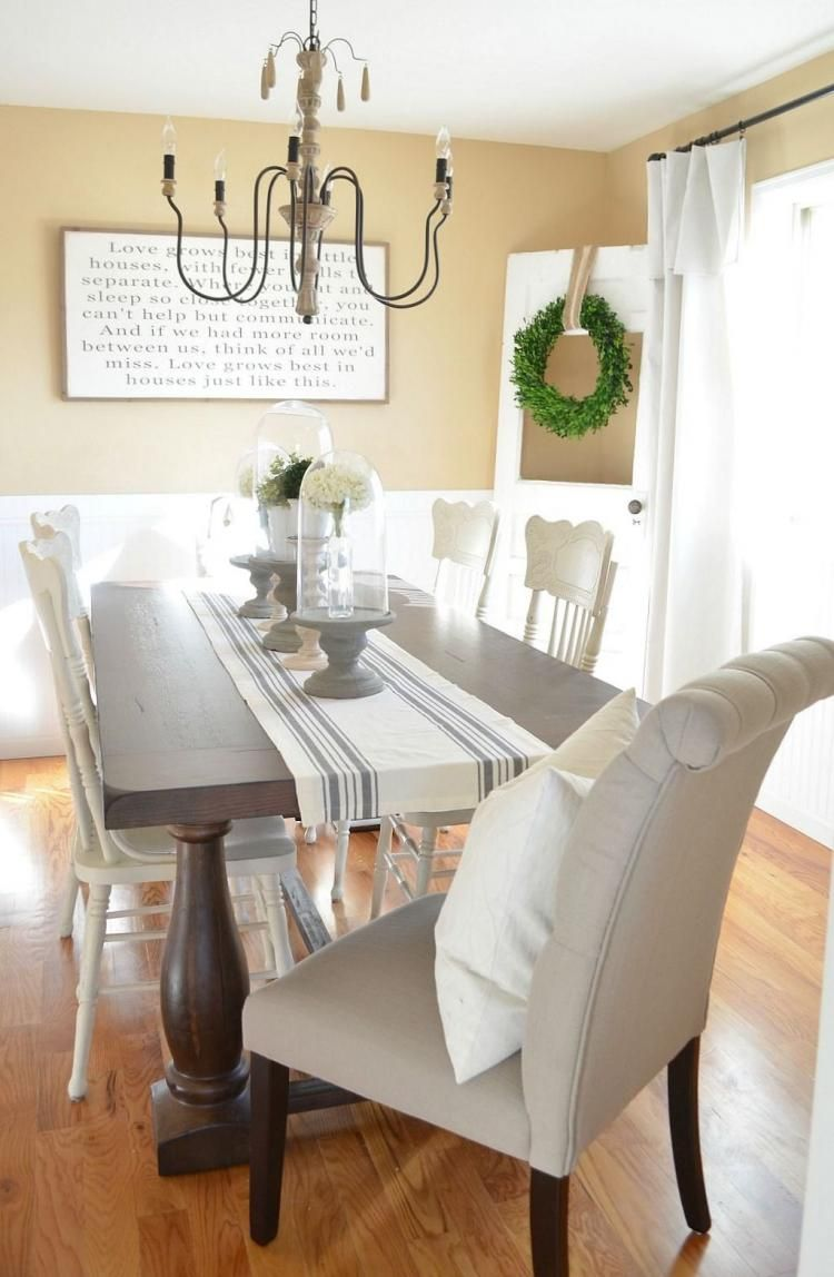 Fabulous Spring Dining Room Table Centerpiece Ideas Modern Farmhouse Dining Room Farmhouse Dining Rooms Decor Dining Room Makeover Spring ideas dinning room