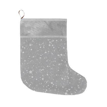 Glitter Stars4 - Silver Large Christmas Stocking Large christmas