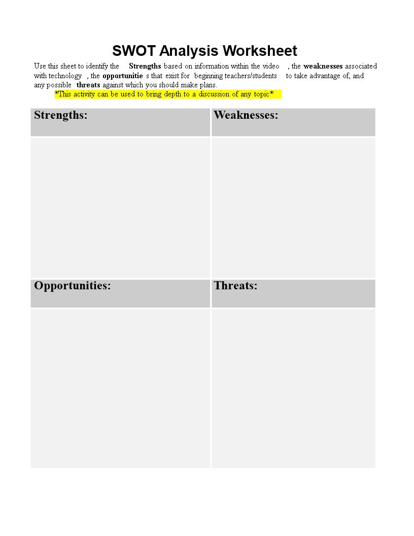 The Captivating Personal Swot Analysis Worksheet Word Templates