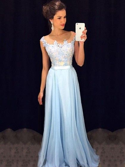 Affordable Scoop Neck Blue Chiffon Tulle Appliques Lace Floor Length