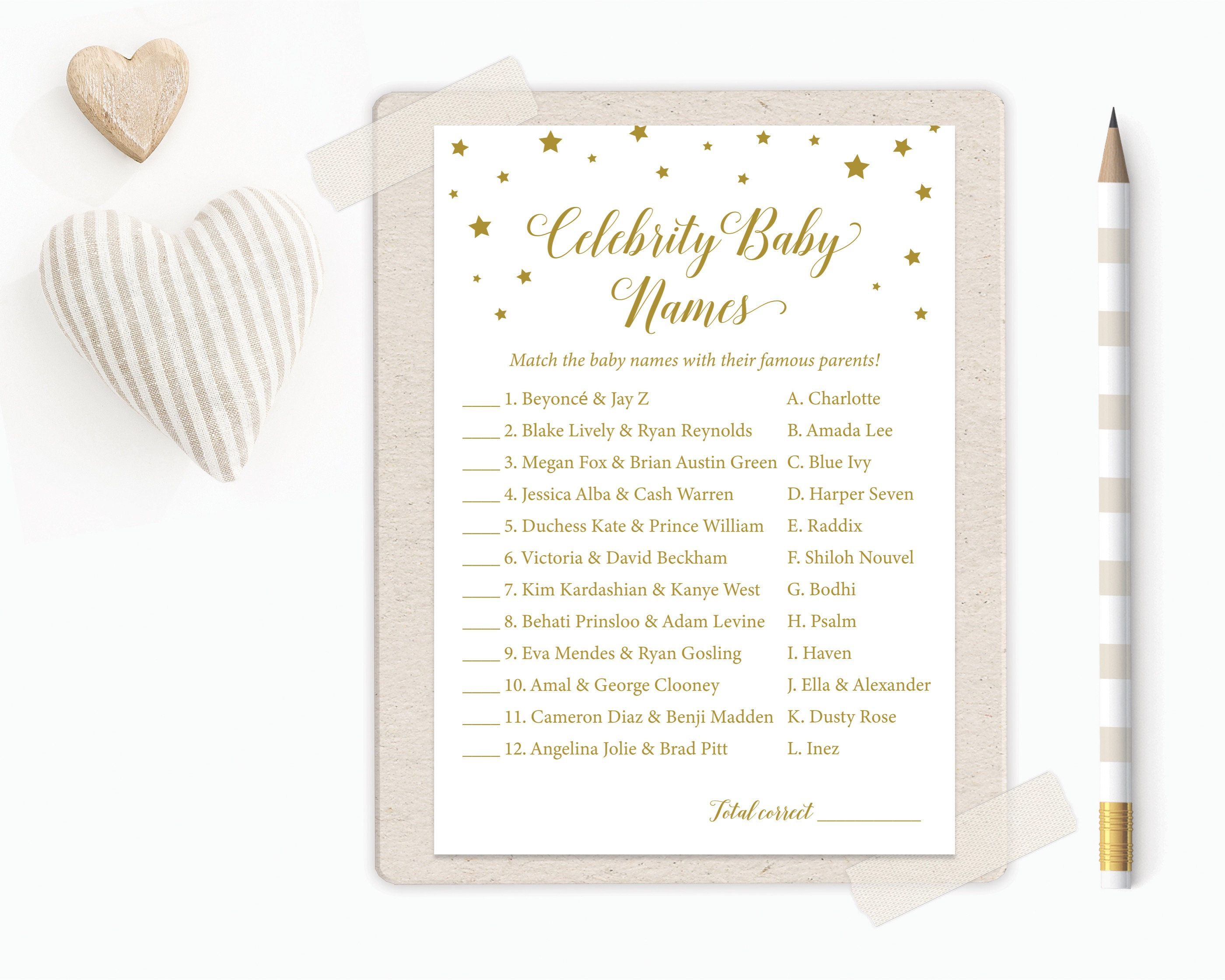 Celebrity Baby Name Game, Celebrity Baby Names, Baby Shower Game Printable, Guess the Celebrity Baby, Baby Shower Games, Baby Shower Game