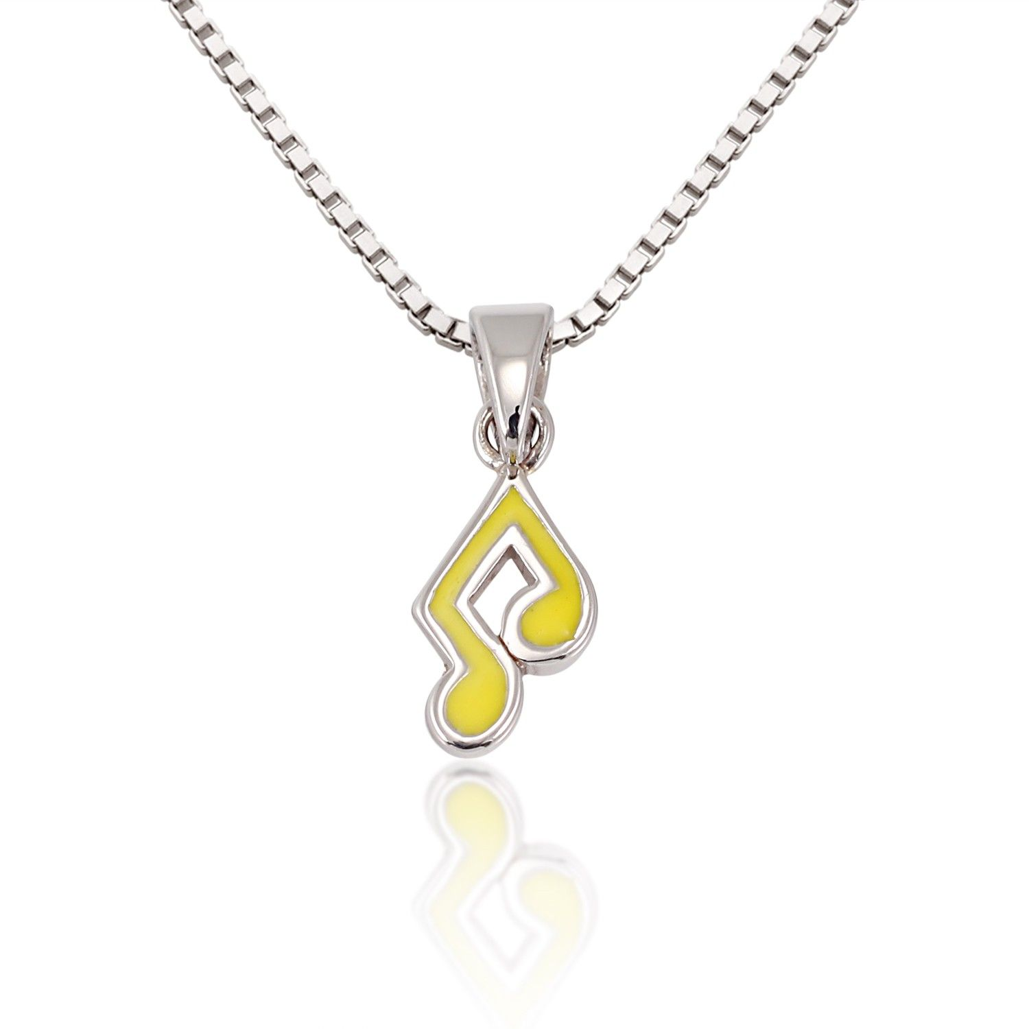 Children's 925 Sterling Silver Yellow Music Note Melody Pendant Necklace, 13-15…