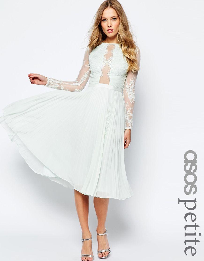 Petite dresses with sleeves for weddings  ASOSPETITEWEDDINGPrettyEyelashPleatedSkaterDress  Fashion