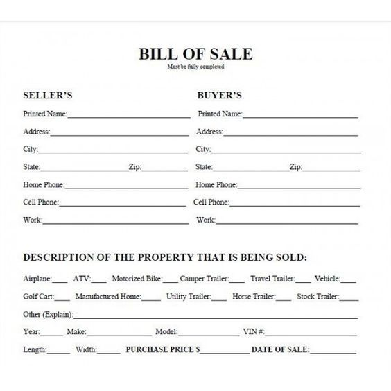 auto bill of sell form