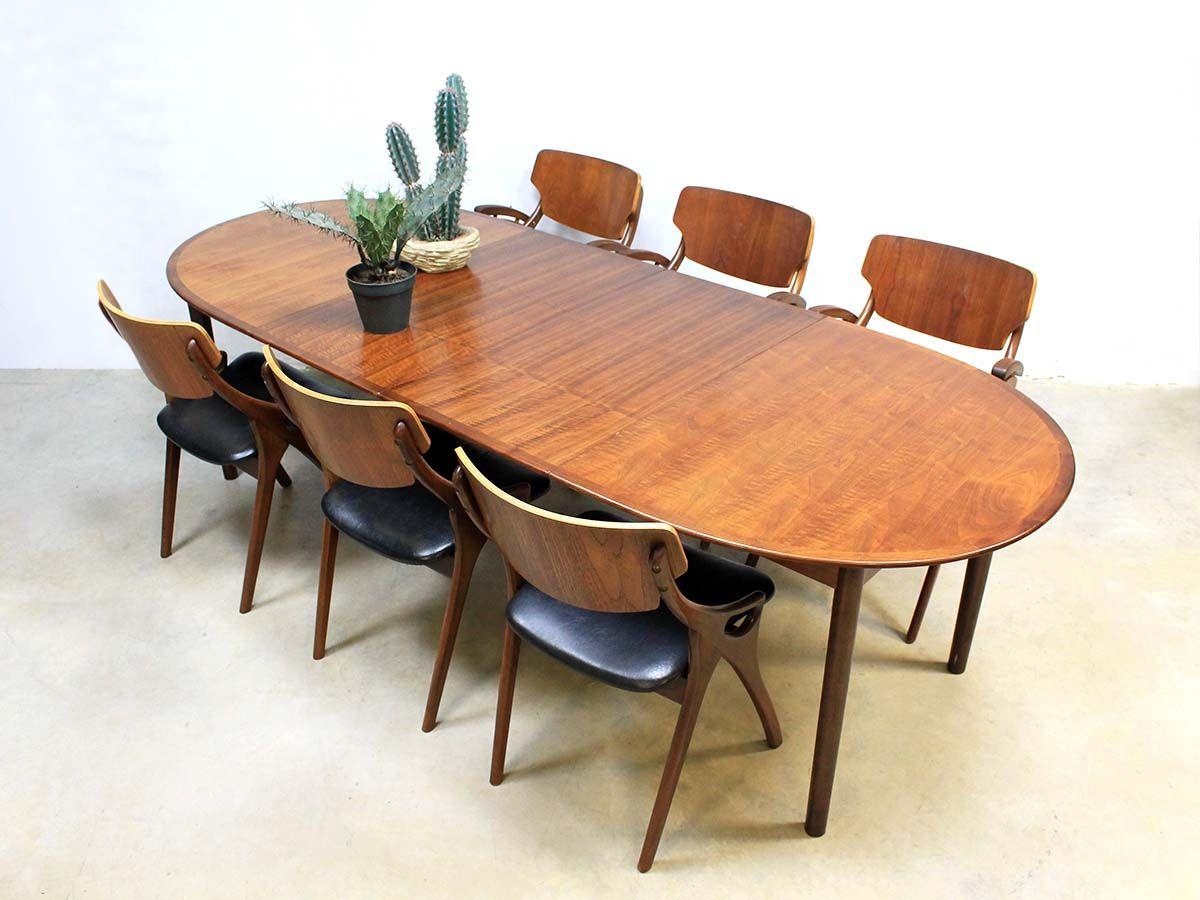 Uitklapbare Ronde Tafel.Mid Century Danish Dinner Table Vintage Deense Uitklapbare