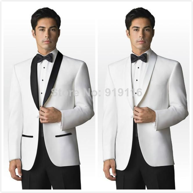2016 Trends Black and White Shawl Lapel Groom suits/Wedding Suits ...