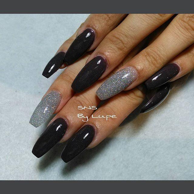 SNS nails (dipping powders) in ballerina shape ! | Nail Designs ...