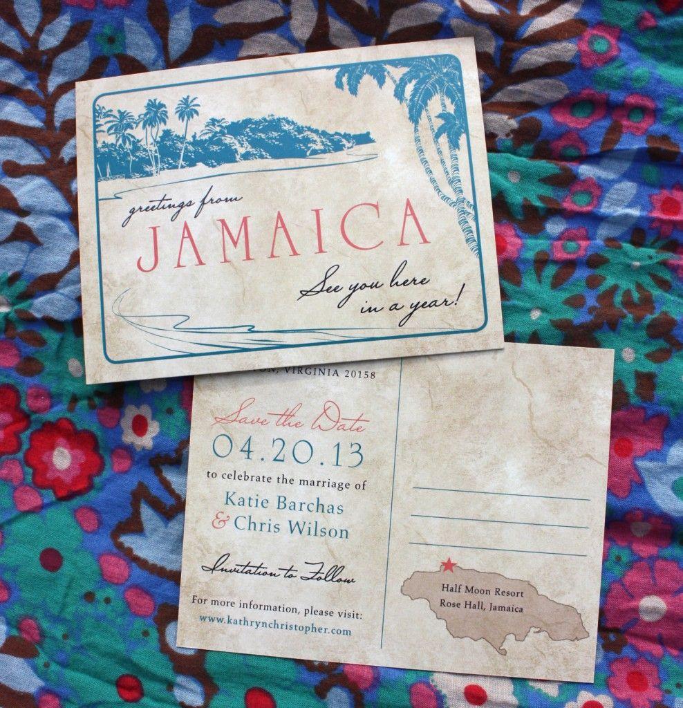 Coral teal palm tree antique destination postcard save