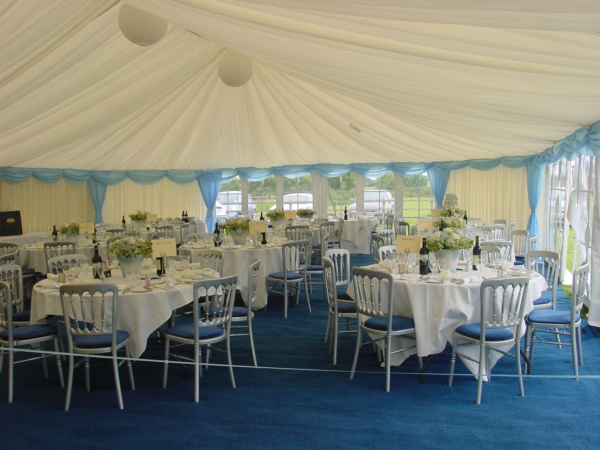 Sky Blue Trim And Blue Carpet Look Clean And Pretty In This Party Marquee Partymarquee Bluecarpet Marquee Hire Marquee Blue Carpet