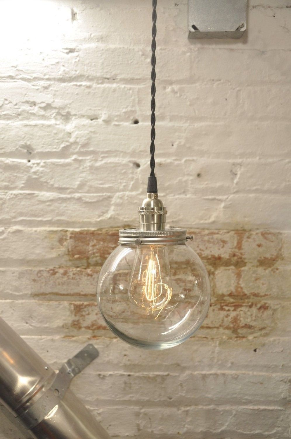 Glass globe pendant light fixture twisted wire vintage rustic high