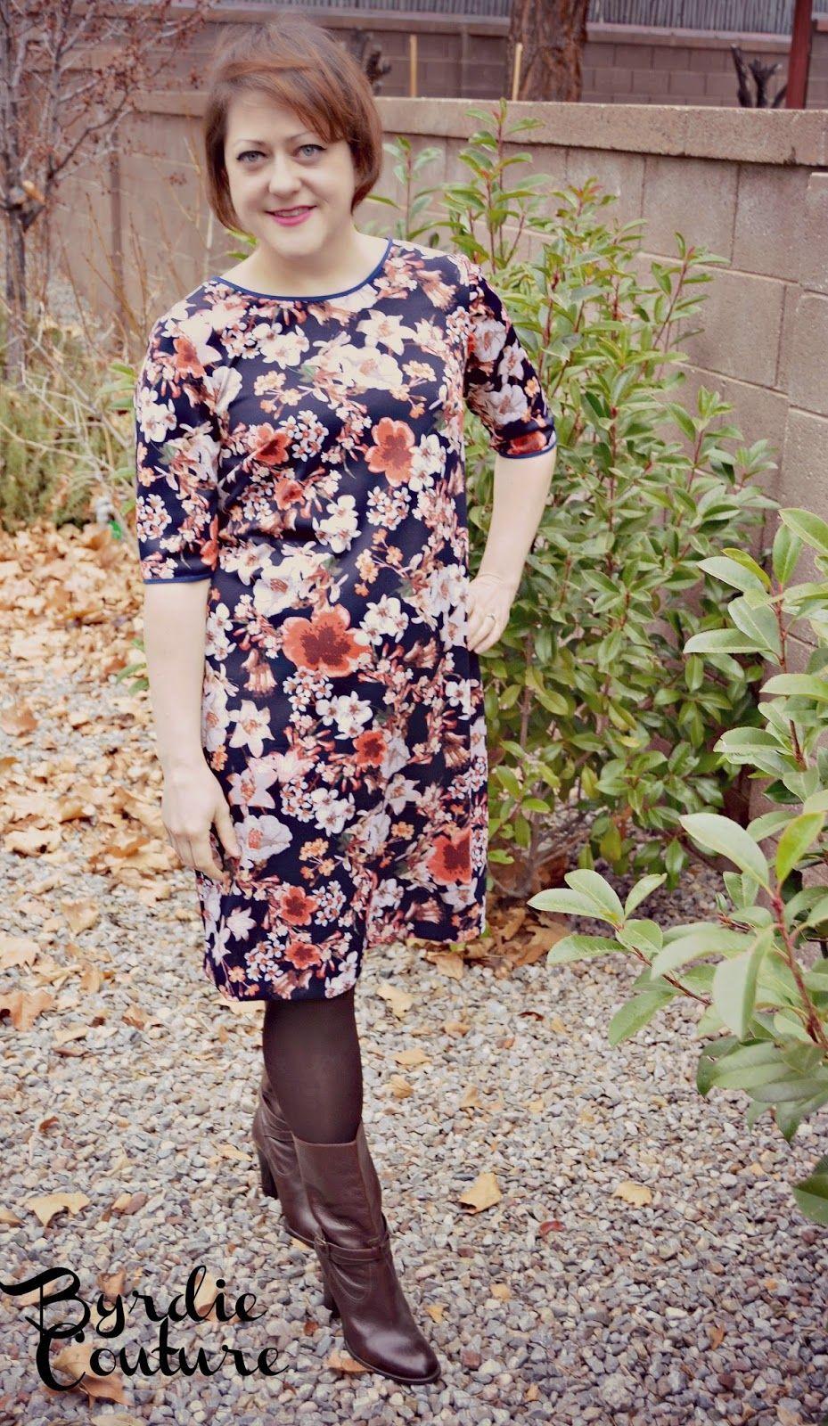 Byrdie Couture: Colette Laurel in Ponte Floral. DIY shift dress ...