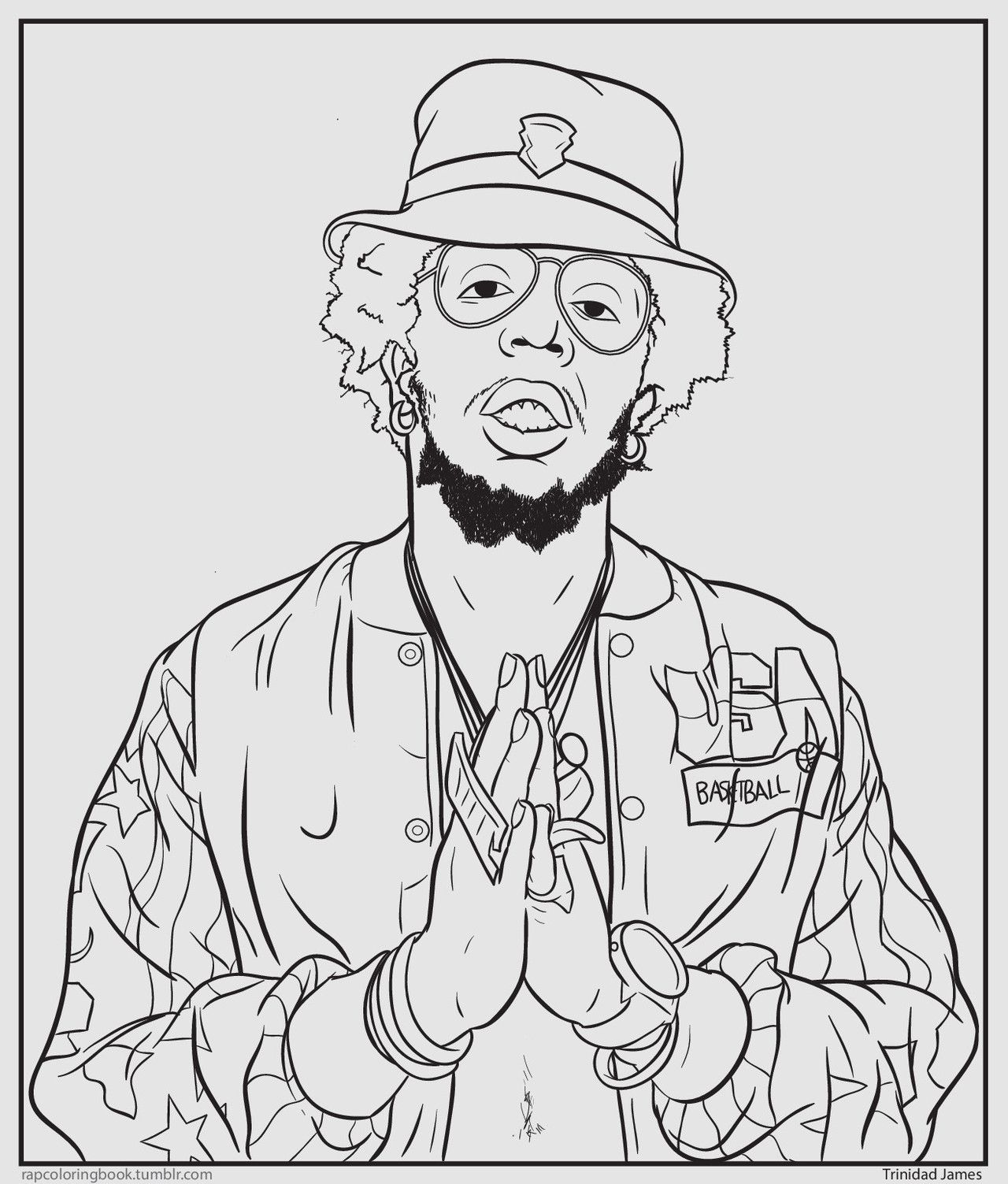 Bun b 39 s jumbo coloring and rap activity trinidad james for Rapper coloring pages