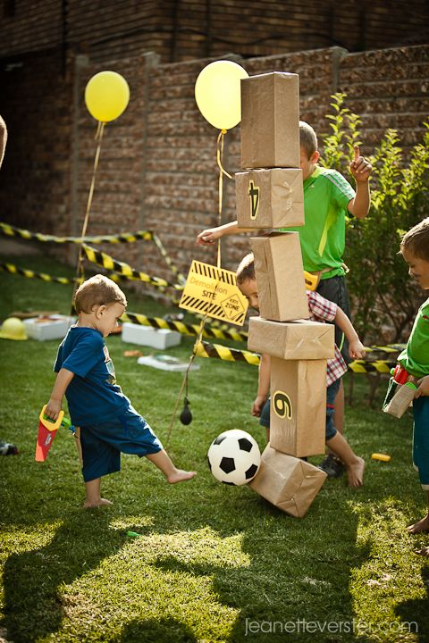 Use Real Wood Games Sand Paint House Blocks Nails At Tool Bench Juans Constructi Soccer Birthday Parties Construction Birthday Parties Birthday Party Games