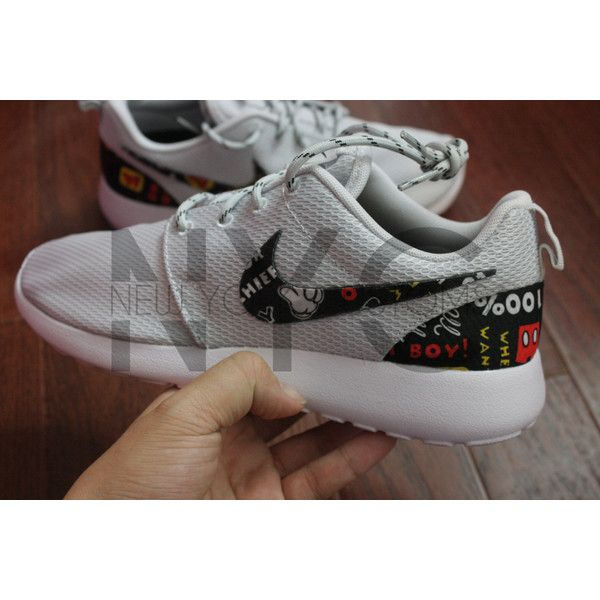 954ffc01accc4 Nike Roshe Run Grey White Traditional Mickey Mouse Custom ( 150) ❤ liked on  Polyvore
